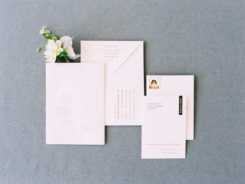 Invitation for wedding by Jenny Schneider Events at the Legion of Honor in San Francisco, California. Photo by Leo Patrone Photography.