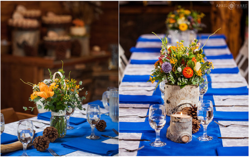 Bold Orange and Bright Blue Wedding Reception Colors for a Rustic Barn wedding in Colorado