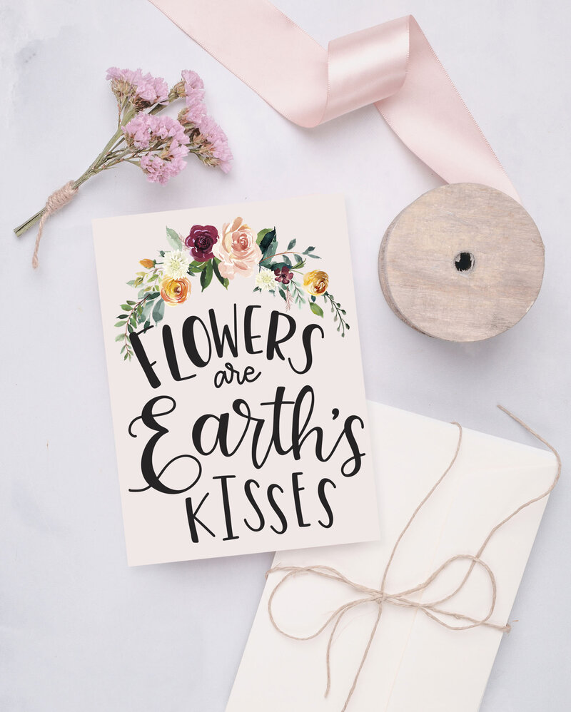 Flowers are Earth's Kisses, greeting card artwork by Nancy Ingersoll