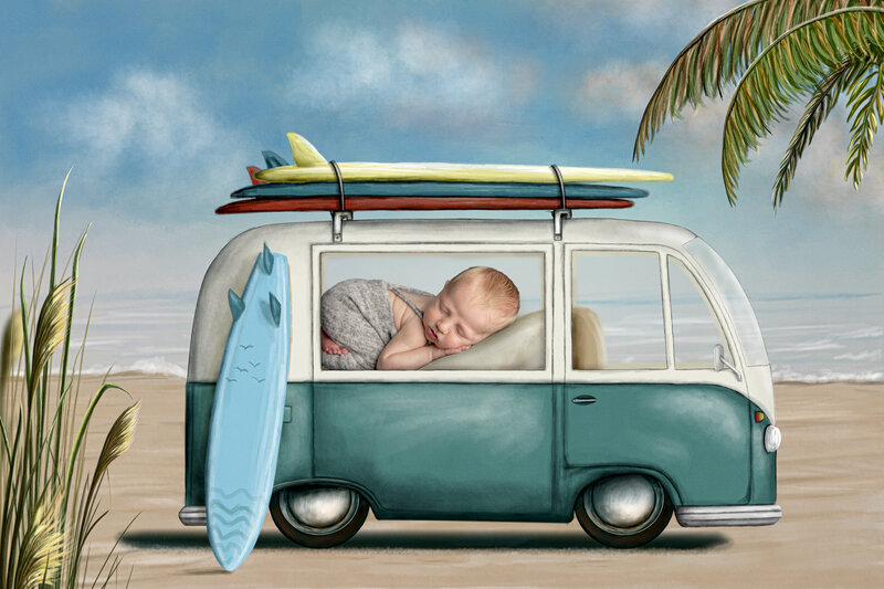 newborn boy sleeping in this composite photo of a beach van and surfboard