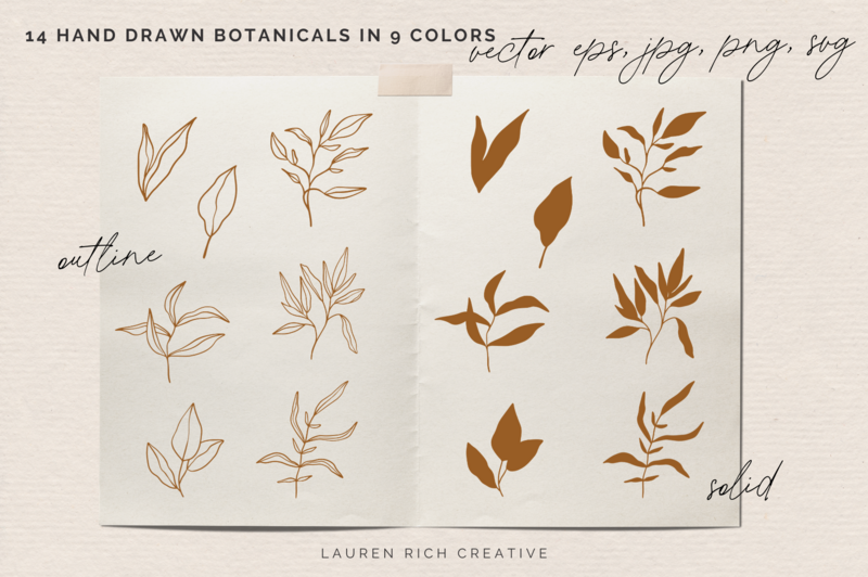 A graphic with hand drawn botanicals and text.