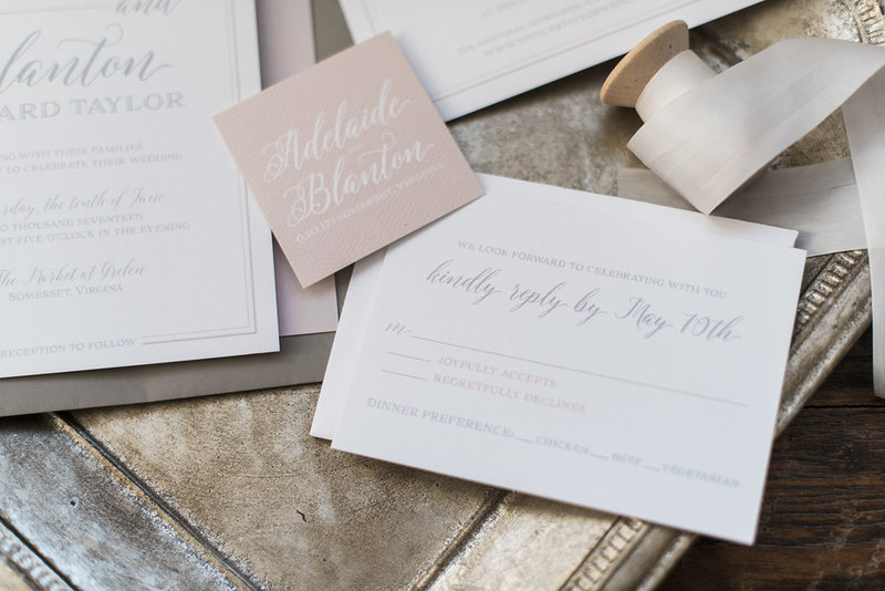 Taylor Script Blush Wedding Invitation