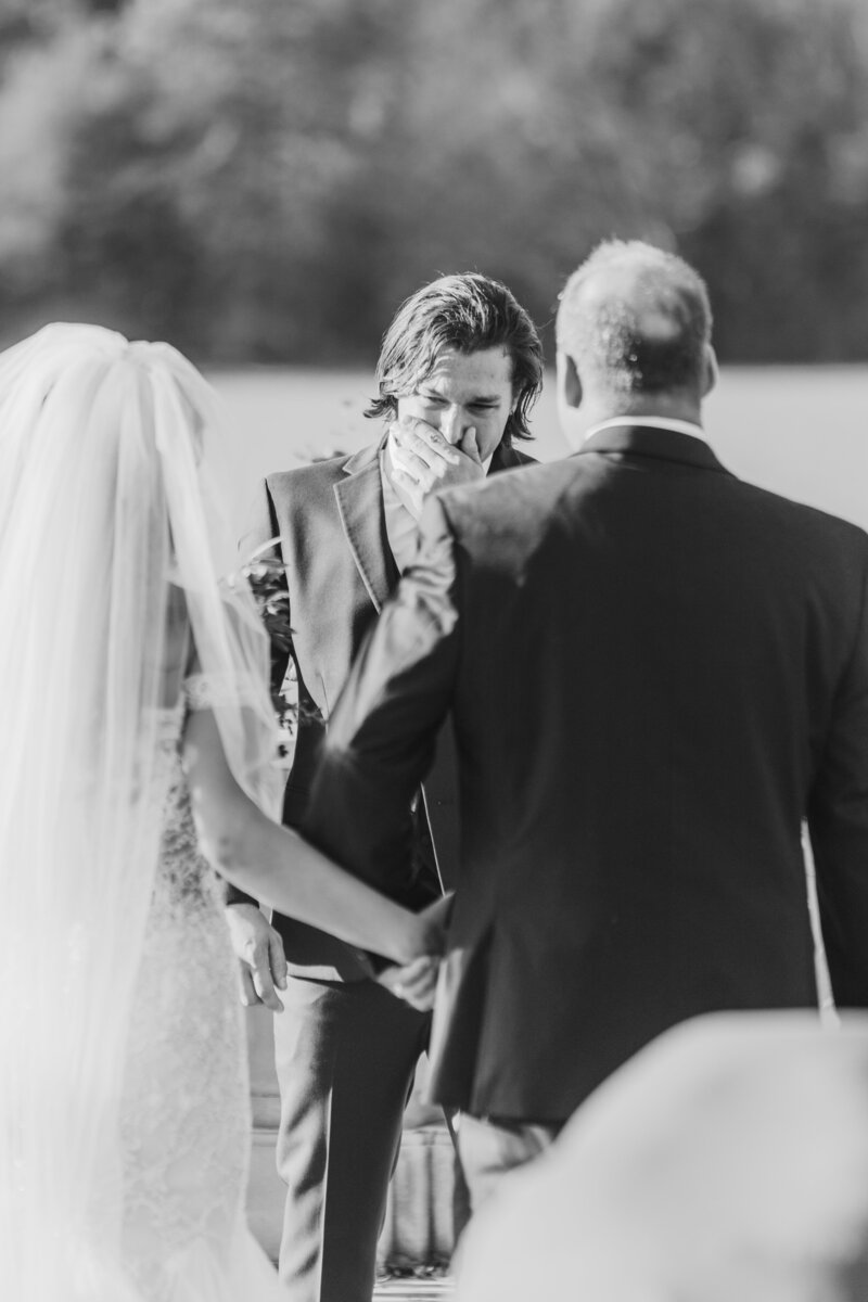 grooms reaction to bride at great marsh estate wedding in charlottesville virginia by costola photography