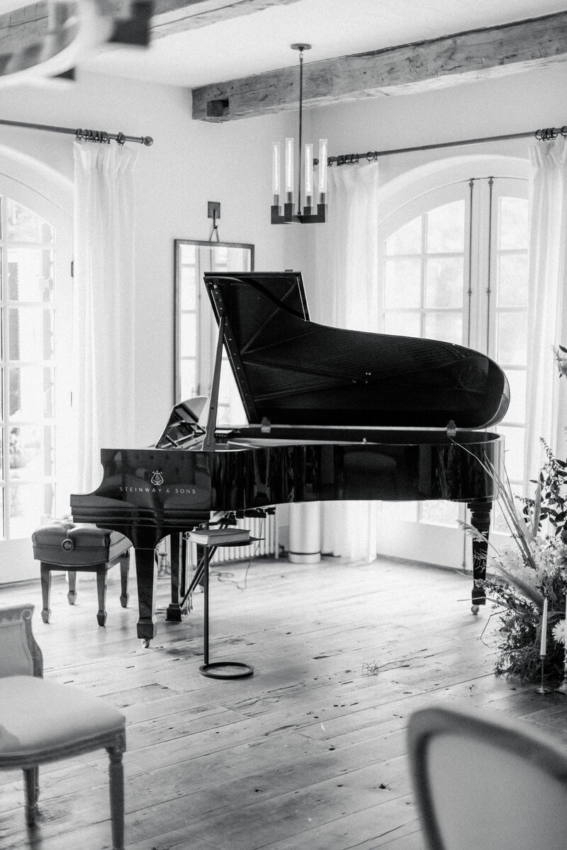 grand piano at French Inspired Private Estate wedding in charlottesville virginia by costola photography