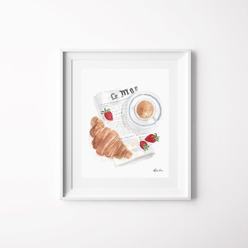 le petit dejeuner watercolor art print mockup