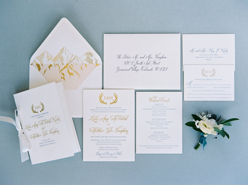 We specialize in creating elegant mountain and antler themed Colorado invitation suite.
