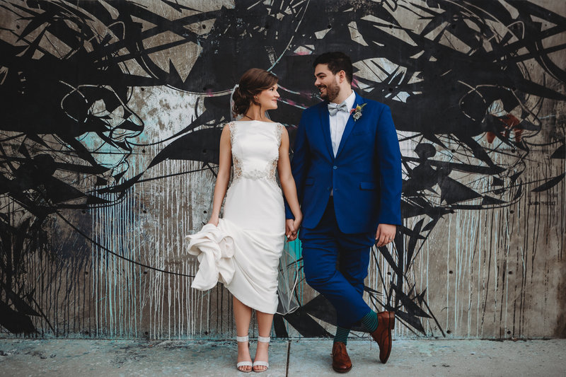 Bride and groom portrait outside of Space Gallery in Denver, Colorado