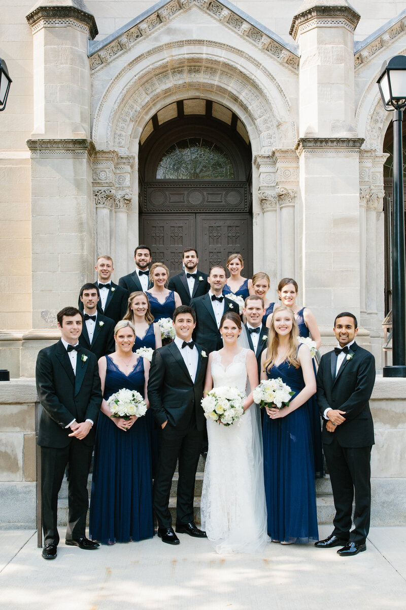 bridal-party-outside-Saint-Clement-Catholic-Church