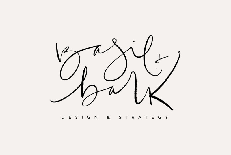 Hand lettered logo design for Basil and Bark by Just Like White Creative
