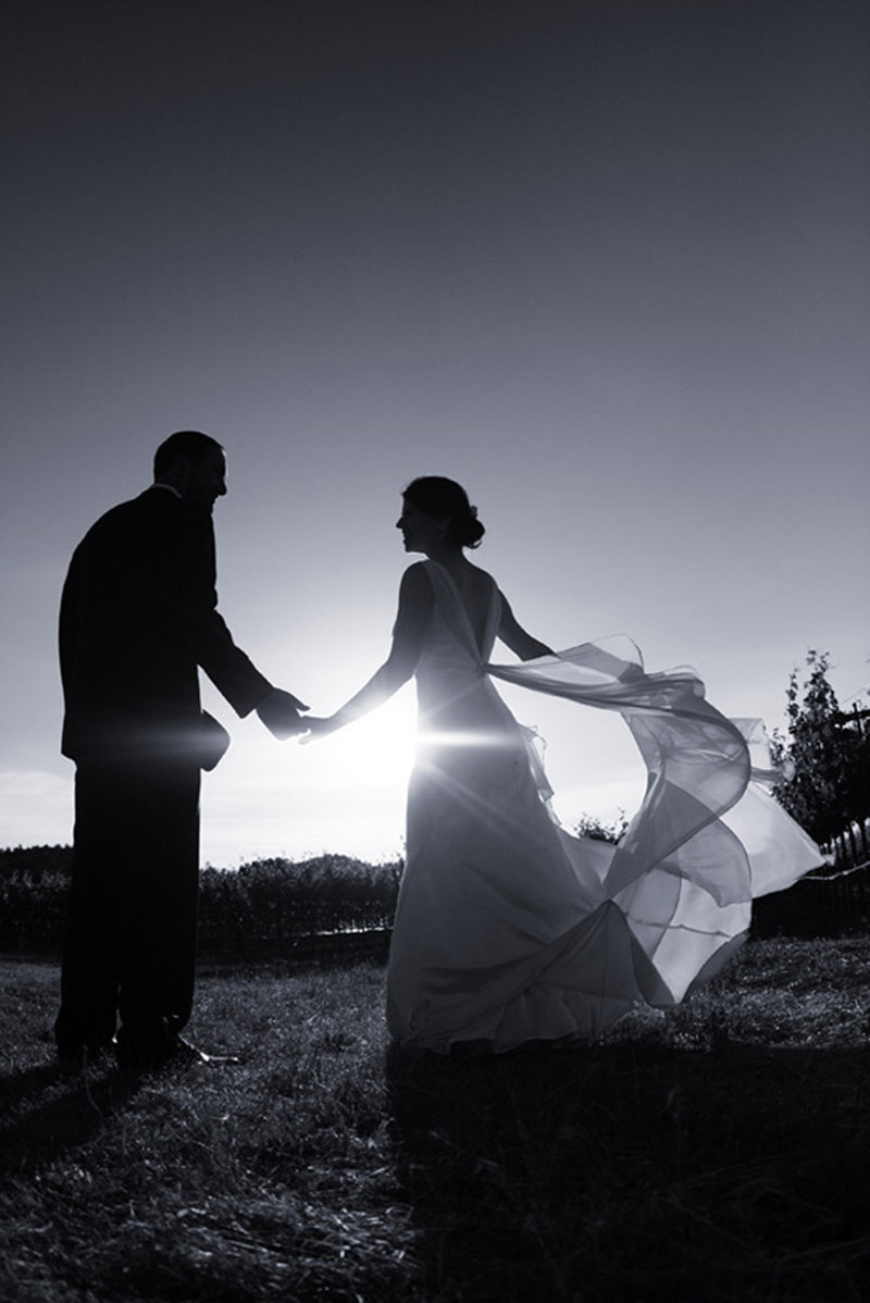 silouette bride and broom