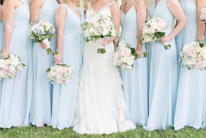light blue bridesmaid dresses at springfield manor winery and distillery wedding by costola photography