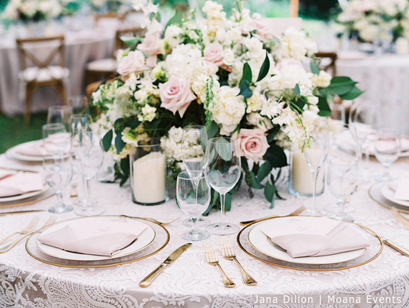 WM Ivory lace linen gold chargers moana events