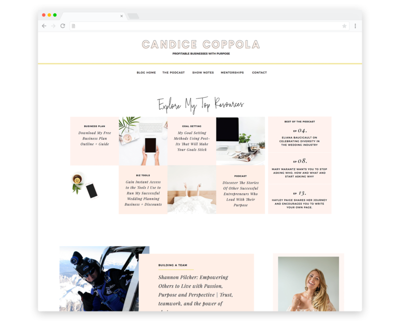 TemplateShowcase - Candice Copolla Showit website