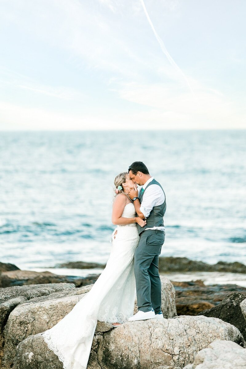 Bride and Groom kissing on the Coast of Portsmouth NH