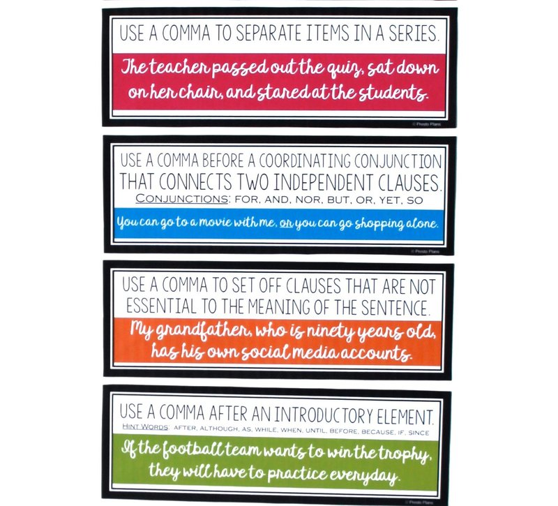 Comma rules posters for the middle and high school English language arts classroom