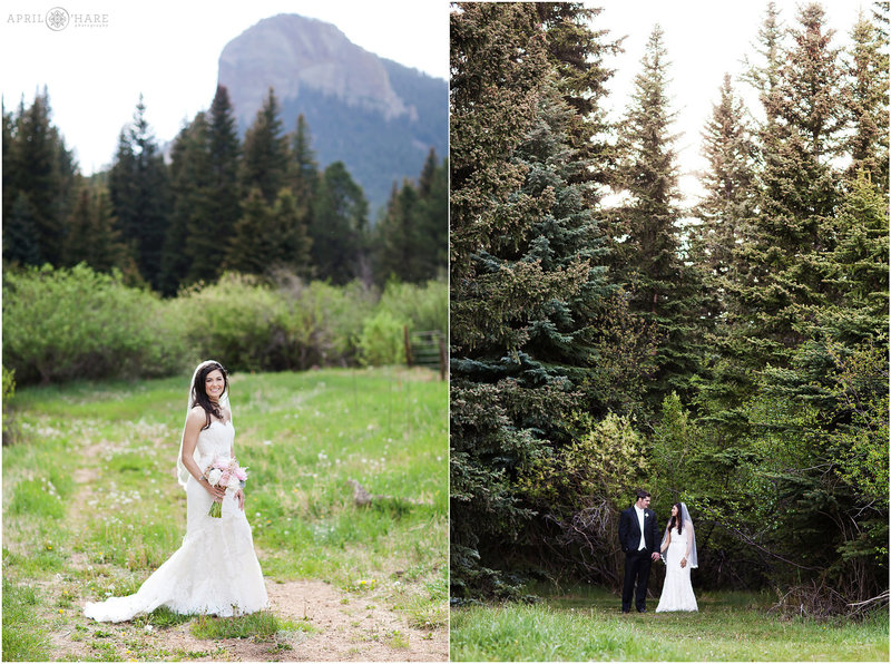 Pretty wedding day portraits at Mountain View Ranch in Pine Colorado