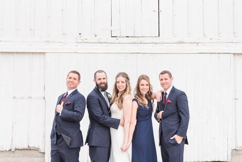 ashley farm bridal party wedding white barn venue