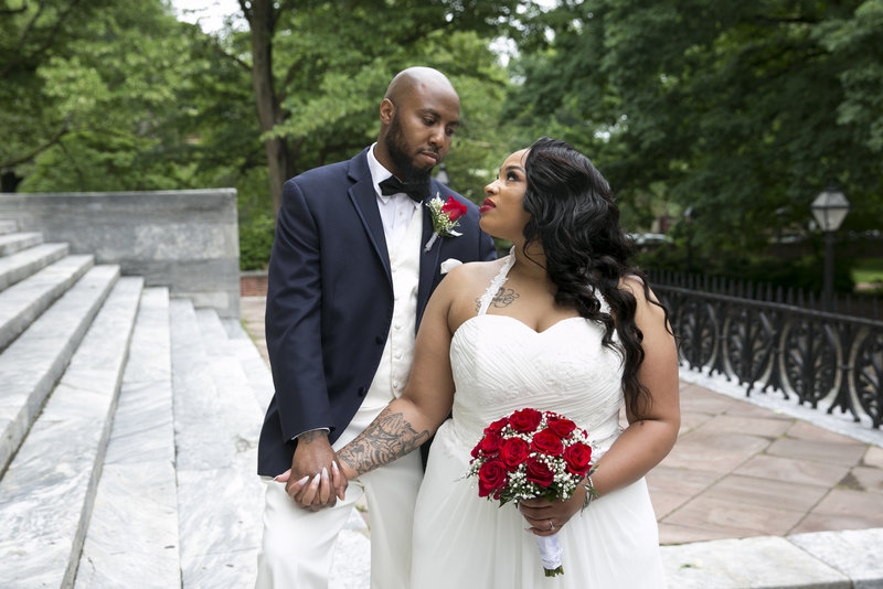 Bride and groom at Second National Bank Philadelphia PA