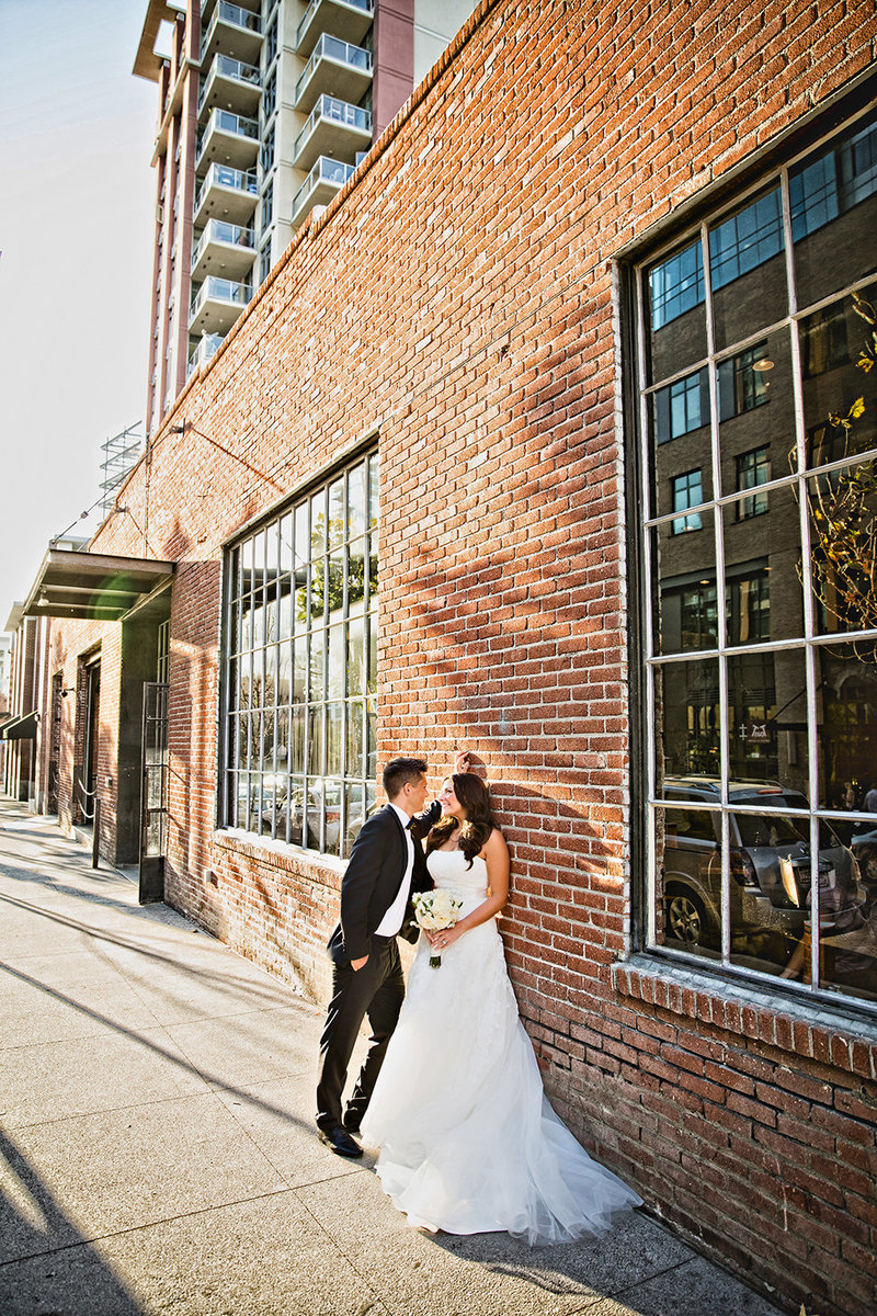 Luce Loft wedding photos urban brick wall downtown san diego