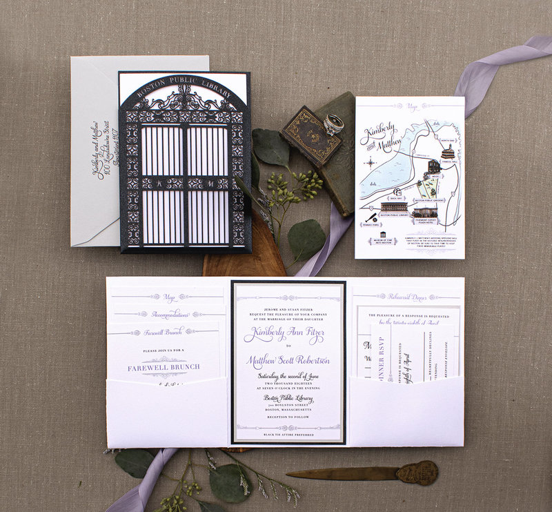 Boston Public Library wedding invitation featuring laser cut sleeve of the library front doors and a double pocket fold for ultimate organization. This invitation also featured a custom illustrated map of Boston.
