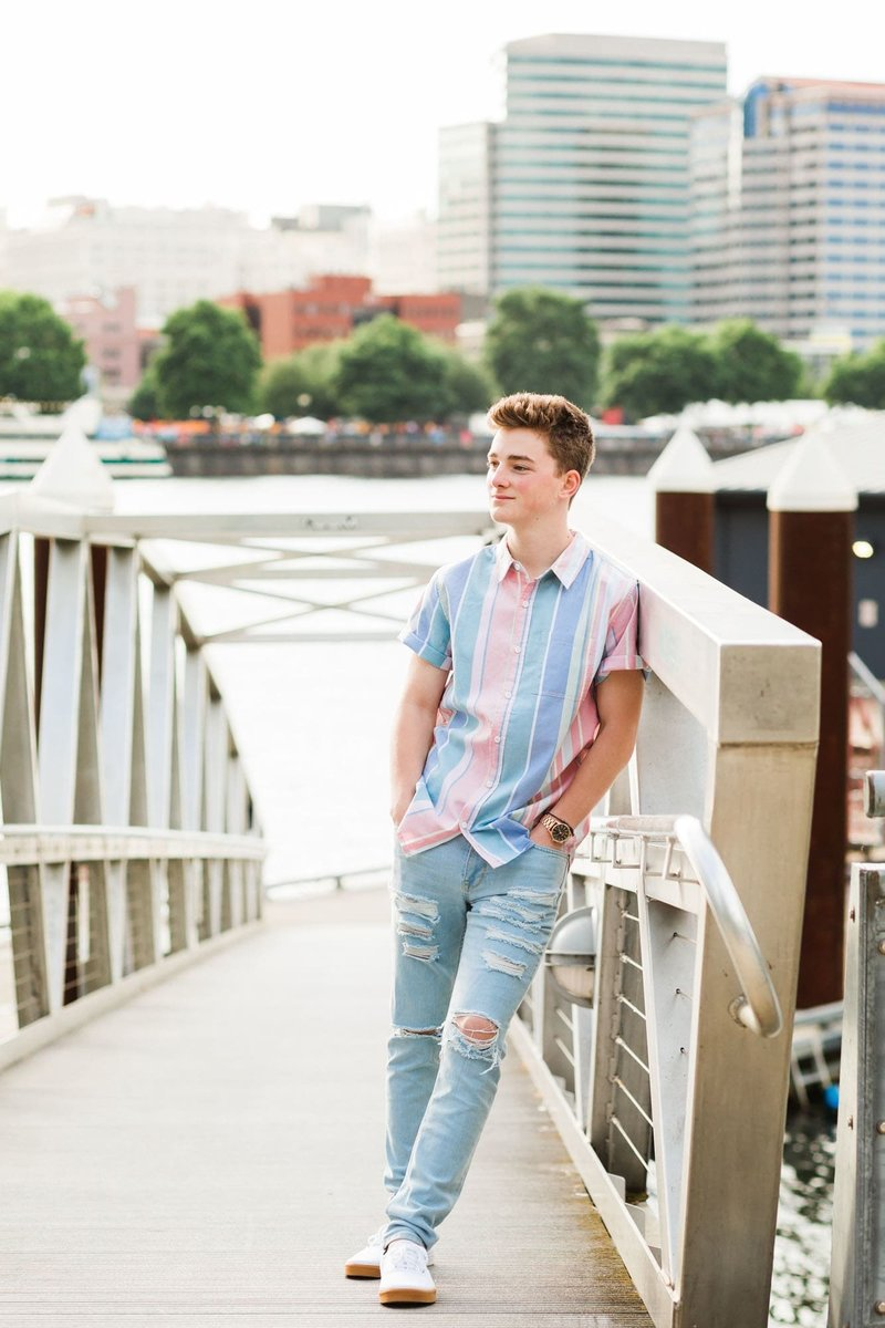 Oregon City senior boy takes photos in downtown Portland