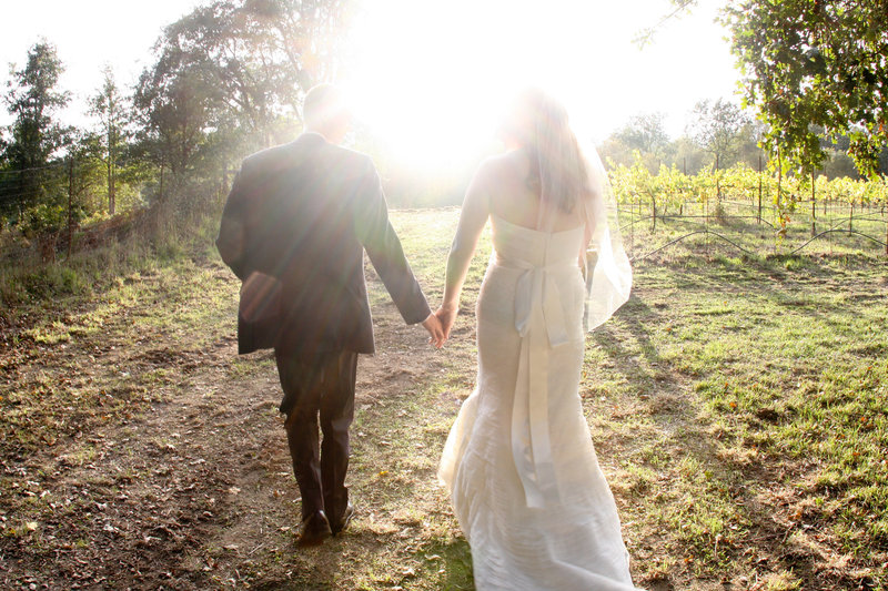 wedding photography, bride and groom walking