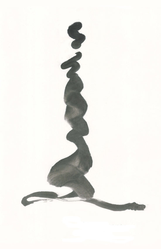 "Ink and Paper, Sumi e abstract, based on Rumi quote, ""Life, life life, is far too sacred to ever end."""