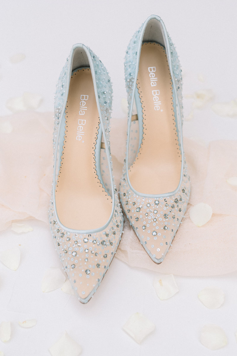 Wedding shoes photographed by best charlotte wedding photographer, Amy Kolo
