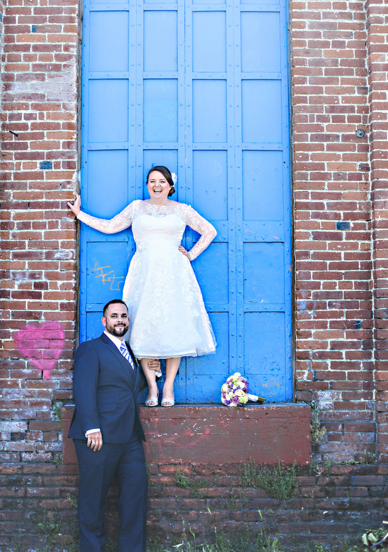 bride and groom fun portrait
