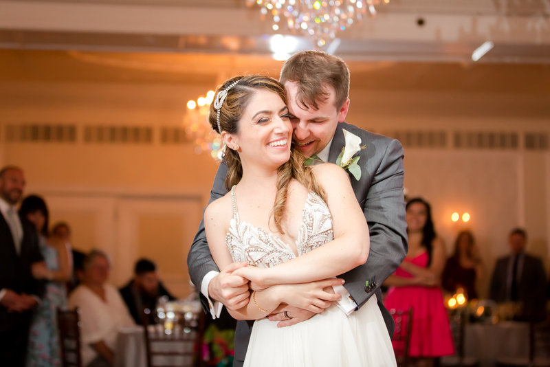 Bride and groom dancing at the Molly Pitcher Inn