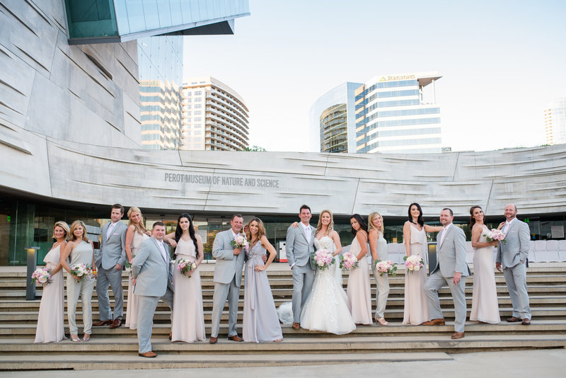 Bridal Party in front of Perot Museum by Dallas Photographer