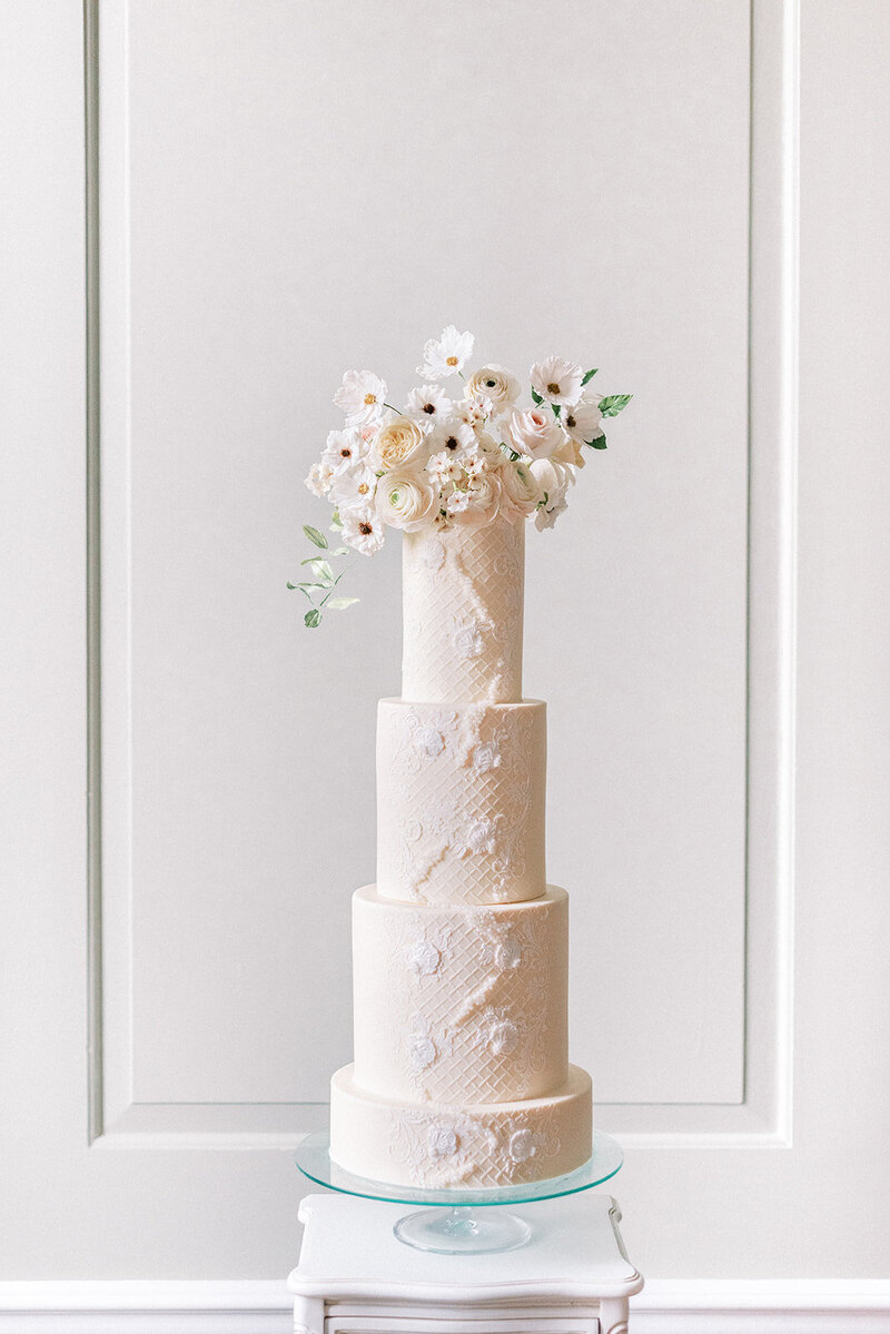 4 tier Luxury ivory wedding cake with lace detail and sugar flowers  Thorpe  Manor | MonAnnie