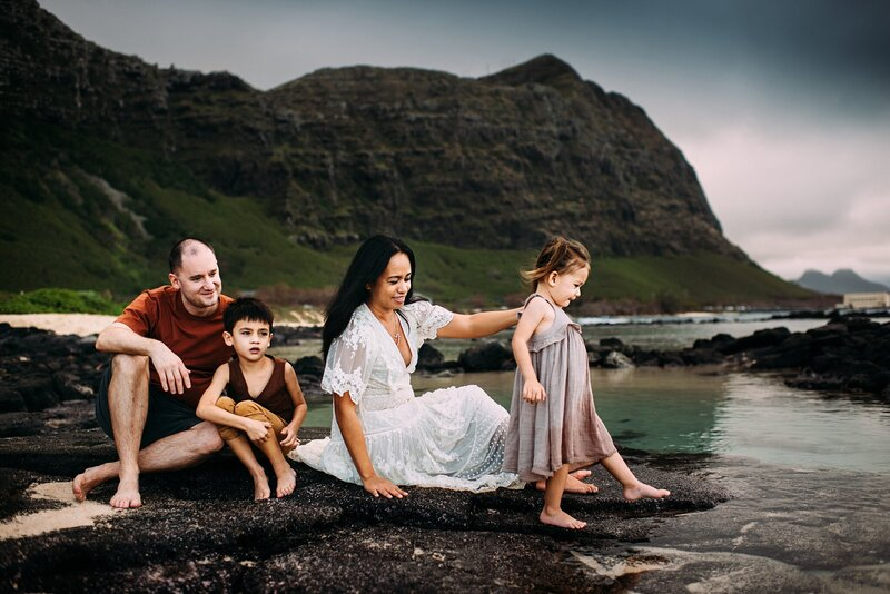 family on oahu beach