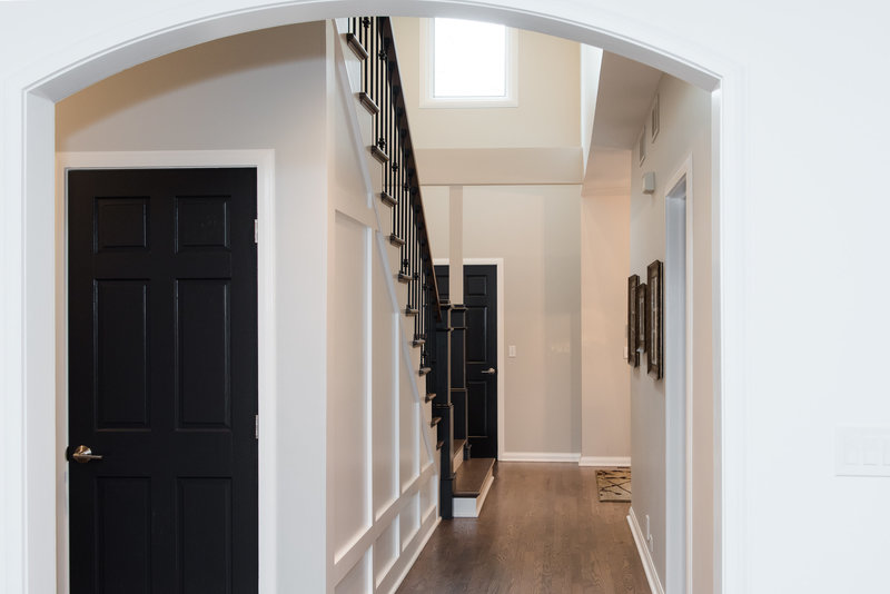 Interior Home Custom Entry Foyer Stairway Wood Flooing