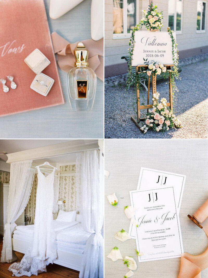 002-wedding-welcome-sign-outside-södertuna-slott-dcorated-with-blush-roses