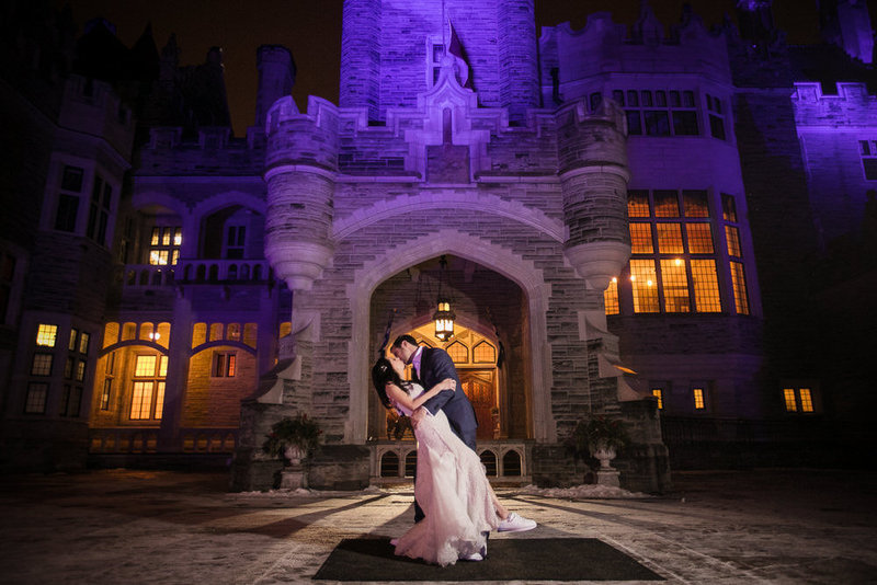 night wedding photography at casa loma