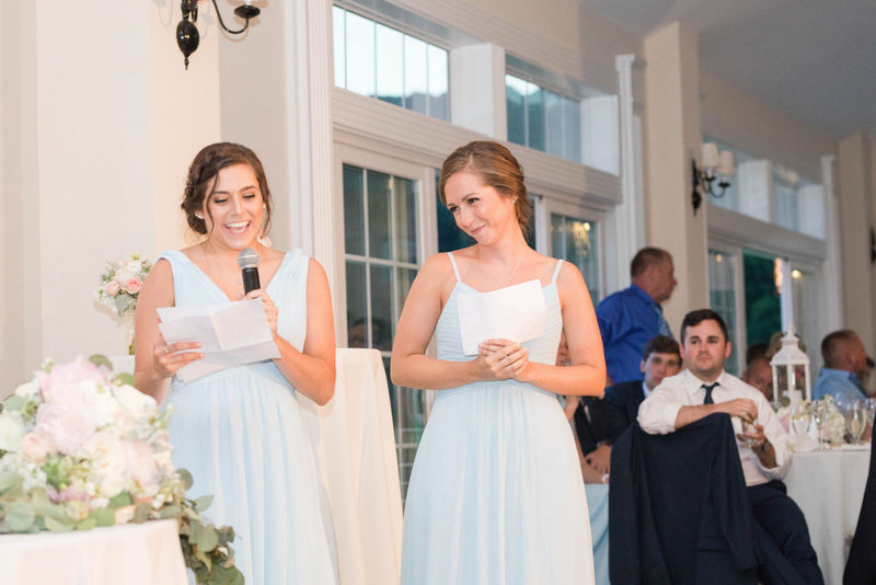 maid of honor toasts at springfield manor winery and distillery wedding by costola photography