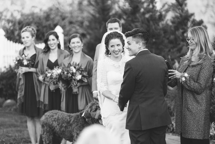 This couple chose to include their dog in their wedding ceremony! They chose Donna Forsythe of Lehigh Valley Celebrants for their wedding officiant.