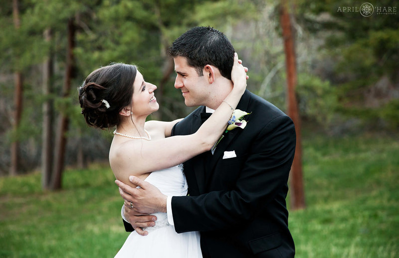 Romantic wedding picture in the woods at The Pines at Genesee Wedding Venue