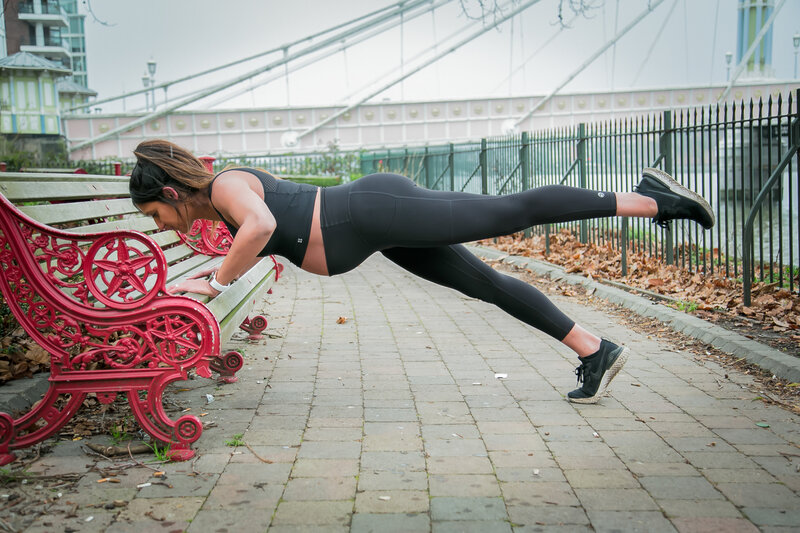 Pregnancy modified pushups on a bench