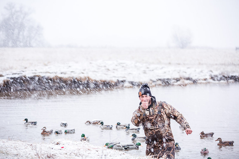 Kansas waterfowl guide hunting in snow