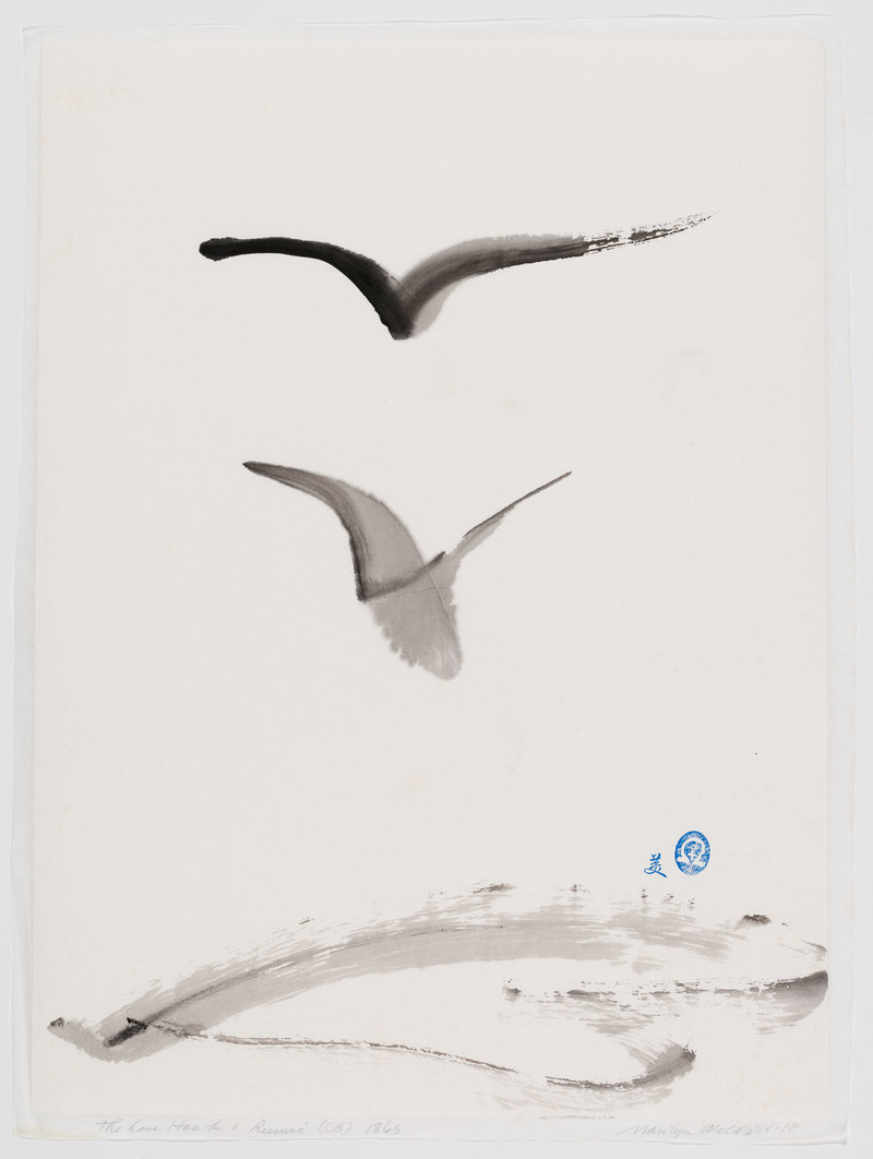 "Ink and Paper, Sumi e abstract, based on Rumi quote, ""This dove here senses the love-hawk floating above and waits and will not be driven or scared to safety."""