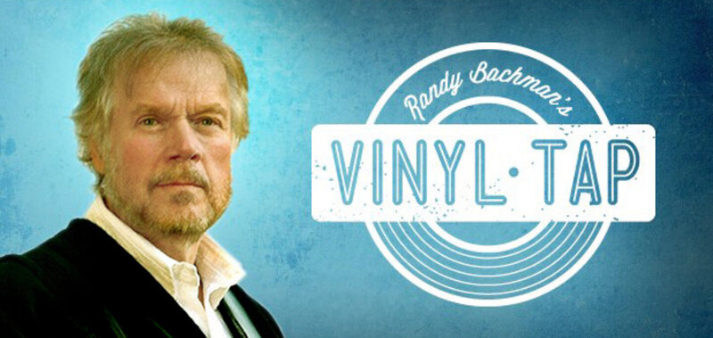 Randy Bachman Vinyl Tap Stories Promotional Image closeup on blue background program logo beside him