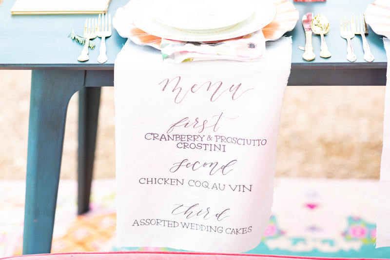 linen napkin with written menu selection