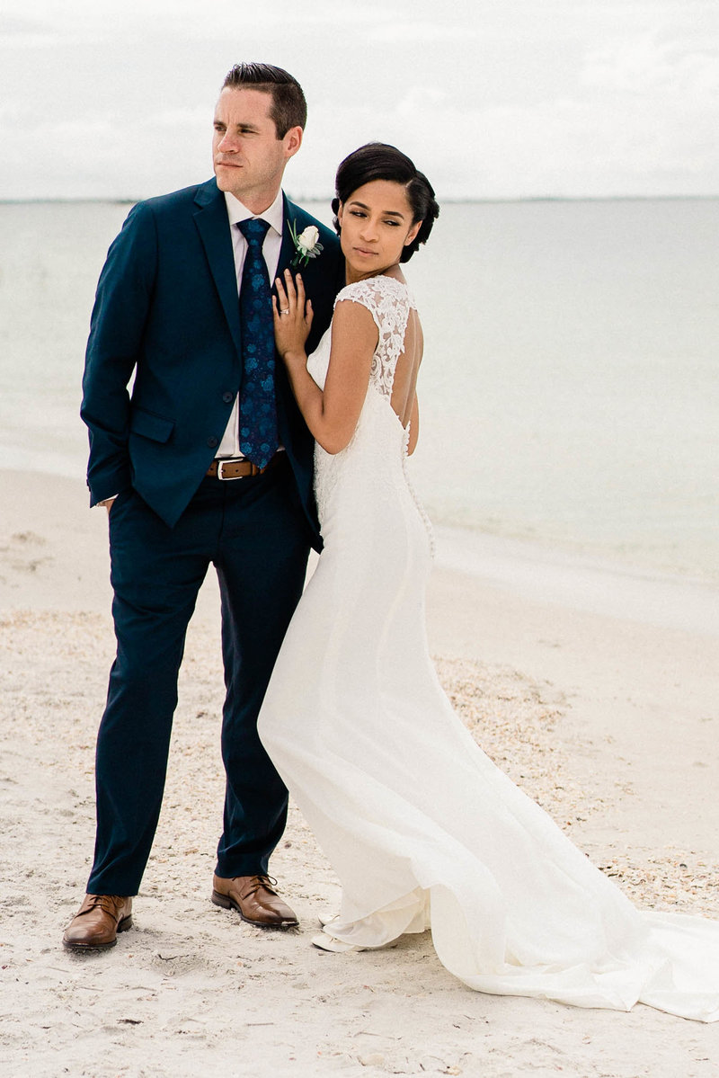 Bride and Groom photos on the beach at Post Card Inn St Pete