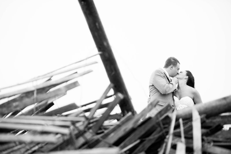 wedding photos during storm on beach