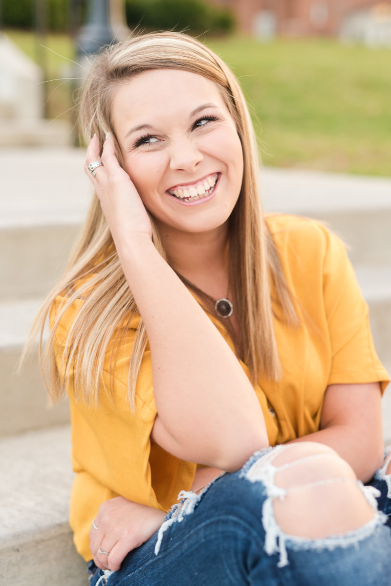 Radford University College Spring Senior Session Yellow Shirt Nursing Student Virginia Senior Photographer