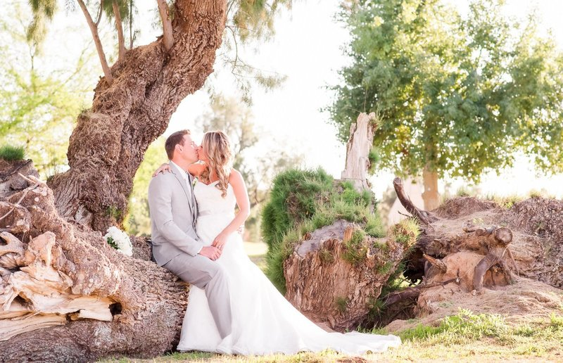 Bride and groom kiss under beautiful tree at Arizona Wigwam Golf Resort.