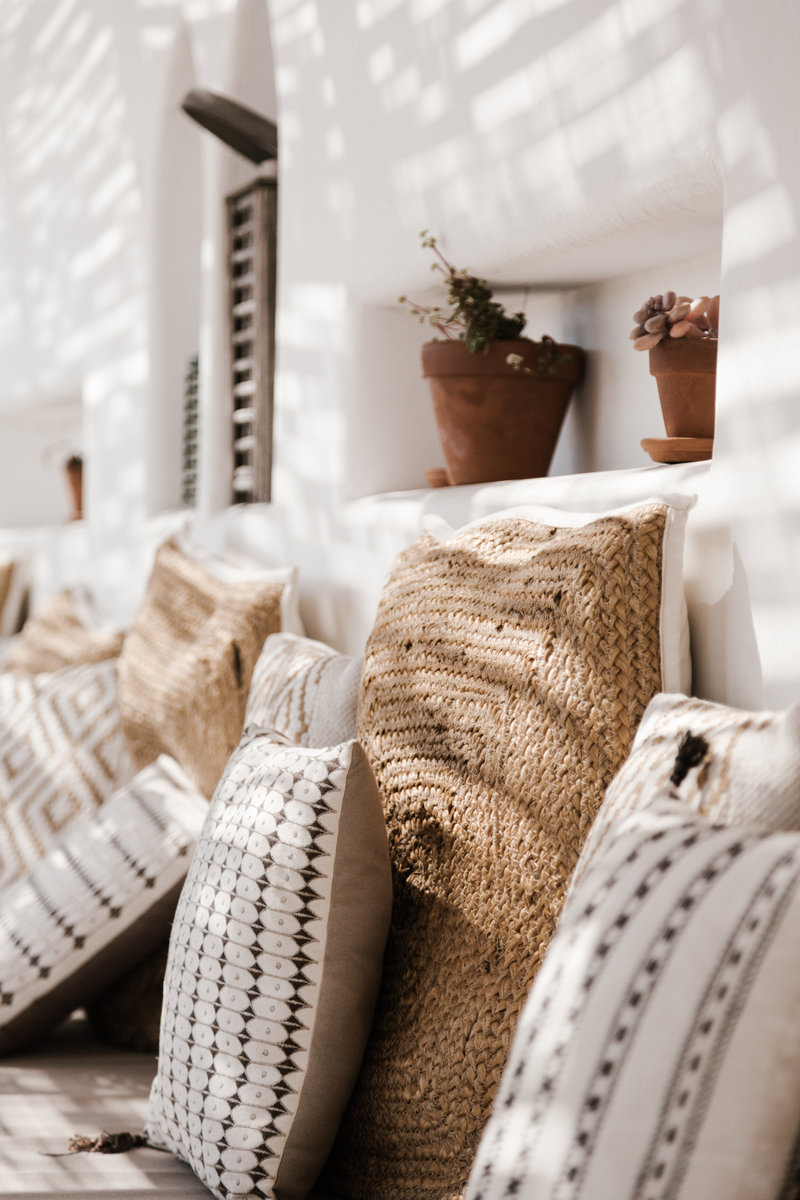 Set of brown and white pillows