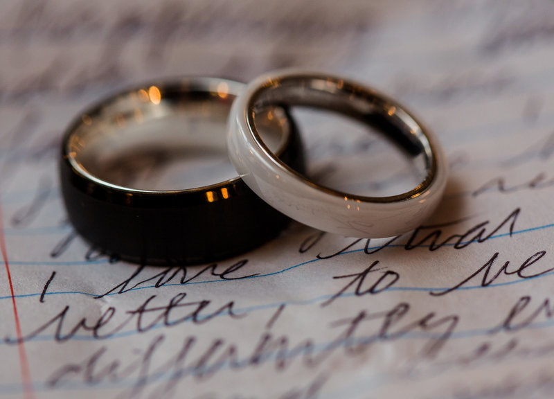 Wedding rings placed on top of handwritten wedding vows